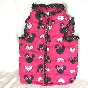 Disney Minnie Mouse Puffer Vest Jacket 2T 3T Pink